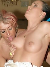 Curvy mature babe Christina lets a pretty younger women join her in taking on a cock